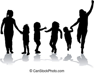 silhouette, familie