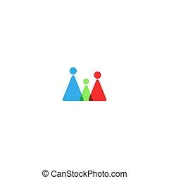 silhouette, familie, mockup, vater, form., zusammen, gruppe, logo, ubergreifen, menschliche , kind, mutter, emblem, freundschaft, kontur, dreiecke