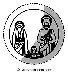 silhouette, famille, autocollant, jésus, sacré, bébé