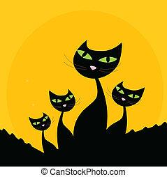 silhouette, famille, -, chat, arrière-plan noir, orange