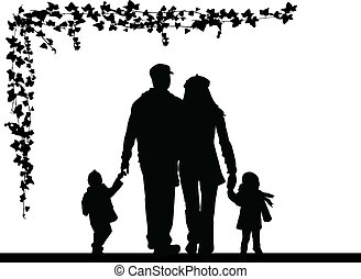 silhouette, famille