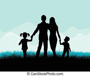 silhouette, famille