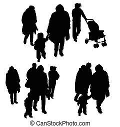 silhouette, famille, illustration, enfant