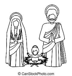 silhouette, famille, jésus, sacré, bébé, s'agenouiller