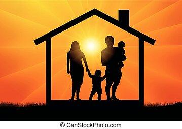 silhouette, famille, maison, deux enfants, vecteur, coucher soleil