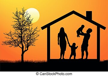 silhouette, famille, maison, enfants, vecteur, coucher soleil