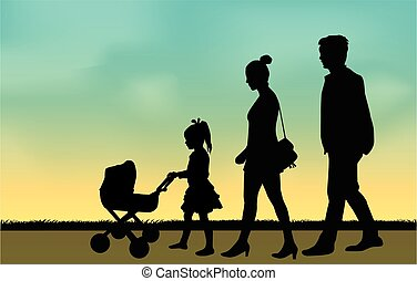 Silhouette family, a girl pushing a pram for dolls.