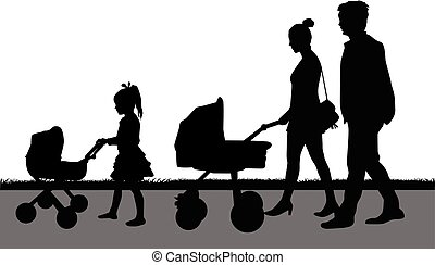 Silhouette family a girl pushing a pram for dolls.