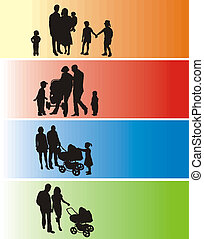 Silhouette Family - A simple silhouette of a group of people...