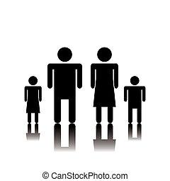 Silhouette family. Icon.