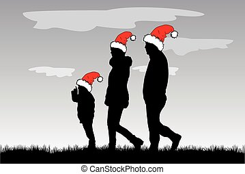 Silhouette family in Christmas hats.