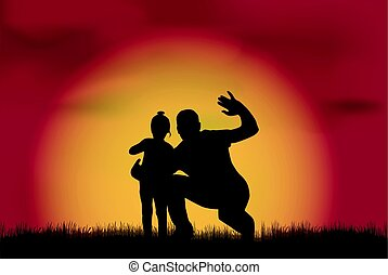 Silhouette family in nature.
