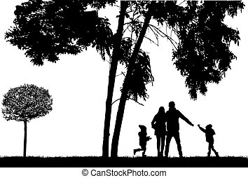Silhouette family on a walk.