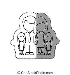 silhouette family their girls twins icon