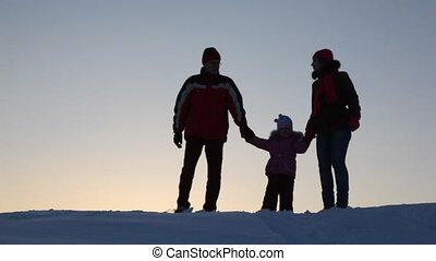 Silhouette family three do lodge