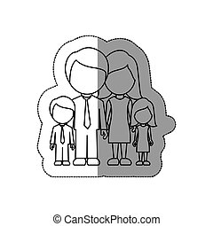 silhouette family with their children icon