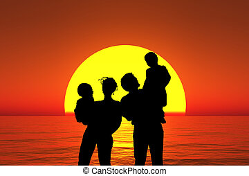silhouette family with two children stand on sunset beach collage