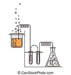 silhouette, farbe, chemische , prozess, versuch, laboratorium, abschnitte