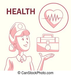 silhouette, farbe, satz, hintergrund, hilfe, herzschlag, weißes, zuerst, abschnitte, krankenschwester, rotes , ikone