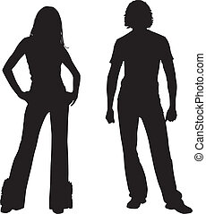 Silhouette fashion couple - Men and woman