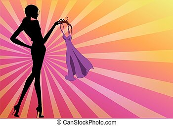 Silhouette fashion girl with a dress in the hands