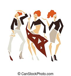 Silhouette fashion girls. - Silhouette young woman....