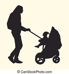 Silhouette father carries child in stroller
