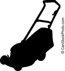 silhouette, faucheur, pelouse