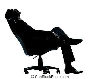 silhouette, fauteuil, séance, homme, business, délassant, ...