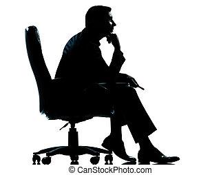 silhouette, fauteuil, séance, homme, business, une
