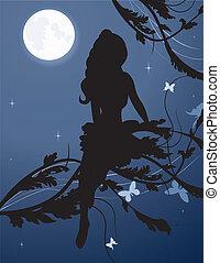 silhouette, fee, himmelsgewölbe, nacht
