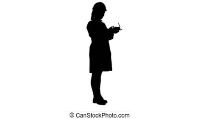 Silhouette Female engineer correct parts of an object using...