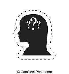 silhouette female head question mark vector illustration eps...
