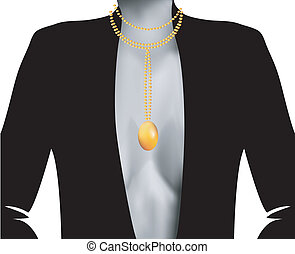 Silhouette female with  gold pearls romantic