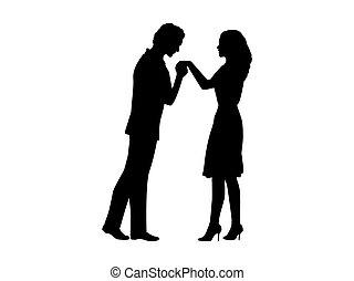 silhouette, femme homme, main, baisers