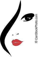 silhouette, femme, mode