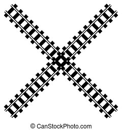 silhouette, ferroviaire, route rail, w, piste, illustration