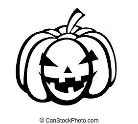 silhouette, festivo, nero-e-bianco, halloween, special., monocromatico, zucca