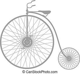 silhouette, fiets, ouderwetse