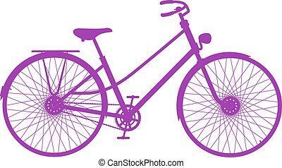 silhouette, fiets, retro