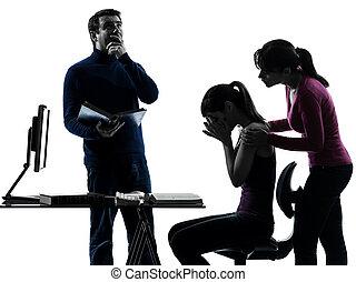 silhouette, figlia, compito, padre, famiglia, porzione, madre