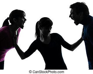 silhouette, figlia, grida, padre, disputa famiglia, madre