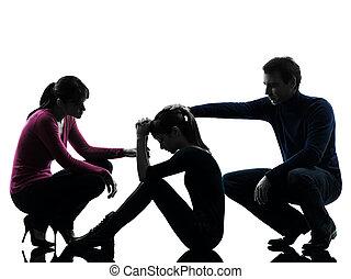 silhouette, figlia, padre, famiglia, madre, consolare