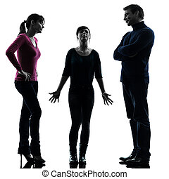 silhouette, figlia, problemi, padre, famiglia, madre, edizioni