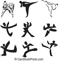 silhouette, figuur, &, -, sporten, karate