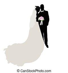 silhouette, figuur, trouwfeest