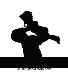 silhouette, fille, jouer, père