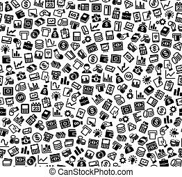 silhouette, finanza, affari, pattern., seamless, icons., vettore, fondo