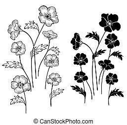 silhouette, fiori, delicato