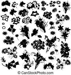 silhouette, fiori, set